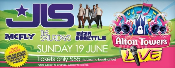 McFly, JLS, The Saturdays & Eliza Doolittle To Perform At Huge Alton Towers Live Concert & Tickets