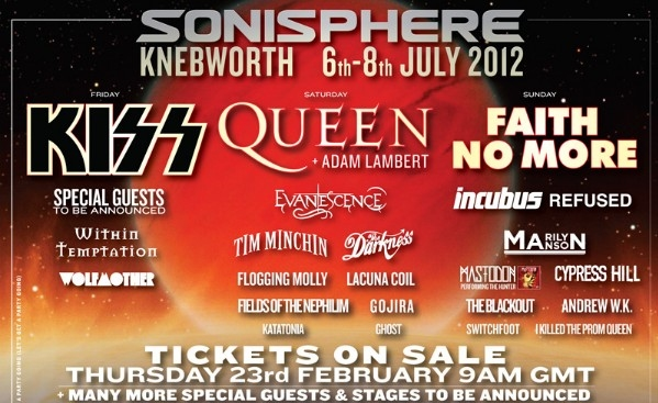 Sonisphere Knebworth 2012 Is Officially Cancelled - Read Official Statement Here